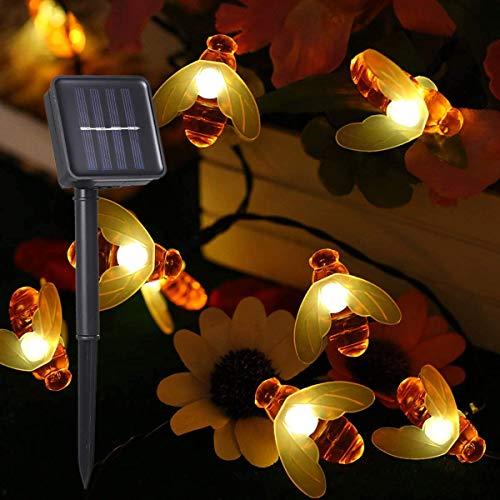Guirnalda Luces Exterior Solar, 30 LEDs 6.5m Cadena de Luces de Abeja LED Decorativas,IP65 Impermeable,8 Modos de Iluminación,Guirnaldas Luminosas para Exterior,Patio,Jardines(Blanco Cálido)