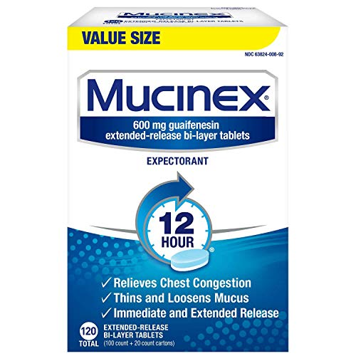 Mucinex 12 Hour Maximum Strength Chest Congestion Expectorant Tablets, 600mg Guaifenesin with Extended Relief, Pack of 1, 120 Count