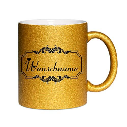Crealuxe Glitzertasse (Gold) Wunschname mit Motiv - Kaffeetasse, Bedruckte Tasse mit Sprüchen oder Bildern, Bürotasse,