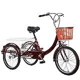 FGVDJ Pedal 3 Ruedas Triciclo para Adultos Bicicleta Pedal de Ciclismo con Cesta de la Compra, Triciclo de Compras, Bicicleta de Carga Triciclo de Compras para Personas ma