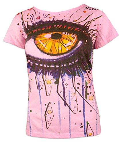 Mirror Camiseta Mujer - En el Ojo del Arte Talla S M Psicodélico Arte Moderno Minimalismo (M, Rosado)