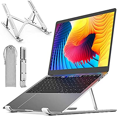 """DYZI Laptop Stand-Ventilated Aluminium Laptop Holder for Macbook,Notebook,iPad-Adjustable Lightweight Cooling Stand compatible with Dell XPS,HP,Samsung,Lenovo, 10-15.6"""" Laptop or Tablet"""