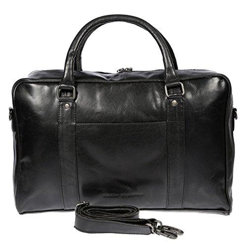 Christian Wippermann große Aktentasche Laptoptasche 15.6 Zoll aus echtem Leder mit TÜV geprüftem RFID Schutz (Schwarz)