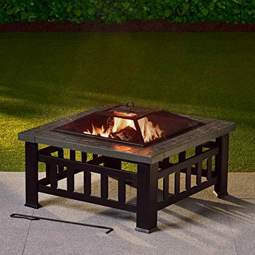 OTZ Fire Pit Log Burner Chiminea 3 in 1 Outdoor Heater 81cm x81cm x51cm