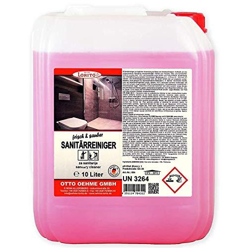 Lorito frisch & sauber Sanitärreiniger, Badreiniger für Keramik, Glas und Kunststoff, 10 Liter