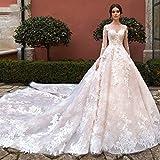 Vestido de novia con encaje Princesa del vestido de la novia del nuevo del O-cuello de la manga larga moldeada una línea de vestidos de boda Apliques Tren real de encaje vestido de novia con cola