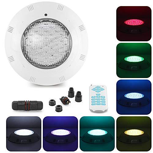 Tunez® 45W Swimming Pool Light Poolscheinwerfer 7 Farbe RGB Poollampe LED 18 Tasten Fernbedienung Unterwasserlicht 1,5 Meter Draht Wandhalterung Weiß 12V AC Power