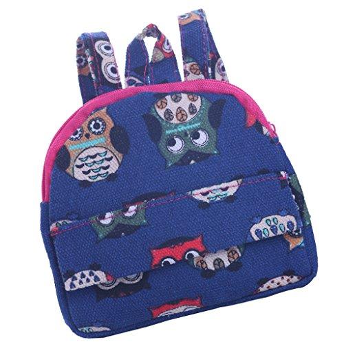 Sharplace Mode Puppen Schulranzen Rucksack Schultasche, Doppelschulterriemen und Reißverschluss Design, Zubehör für 18 '' Amrican Girl Puppen - Blau