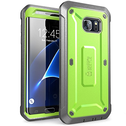 SUPCASE Unicorn Beetle Pro Series Case Designed for Galaxy S7 Edge, Full-Body Rugged Holster Case Without Built-in Screen Protector for Samsung Galaxy S7 Edge (2016 Release) (Green/Gray)