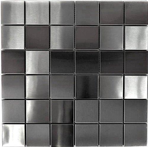 Mosaik Fliese Edelstahl silber silber Stahl gebürstet für WAND BAD WC KÜCHE FLIESENSPIEGEL THEKENVERKLEIDUNG BADEWANNENVERKLEIDUNG Mosaikmatte Mosaikplatte