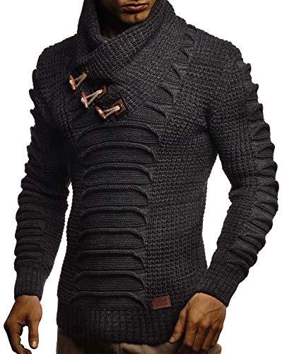 Leif Nelson Herren Strickpullover Pullover Schalkragen Slim Fit Winter Männer schwarzer Pulli Langarm Hoodie-Wollpullover LN-5575 Anthrazit-Schwarz Large