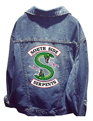 Riverdale Southside Serpents Jacke Damen, Teenager Mädchen Pretty Poisons Denim Jacket Coole Jeansjacke Pullover Frauen Denim Winterjacke Sweatshirt Jäckchen Tops Mantel Outwear Pulli Shirts (02)