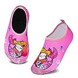 HMIYA Zapatos De Natación Niño Niña Antideslizante Zapatos de Agua Secado RáPido Respirable Escarpines de Baño Descalzo Calcetines Aire Libre Piscina de Playa Surf(Rosa Sirena,24/25 EU)