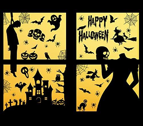 Tuopuda Halloween Aufkleber Fensterbilder Wandaufkleber Halloween Wandaufkleber Spinnennetz Fledermaus Schwarze Katze Geister Party Spukhaus Deko Halloween Party Dekoration DIY Statischen Sticker