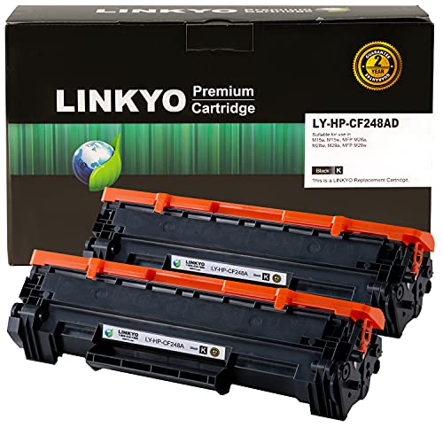 LINKYO Compatible Toner Cartridge Replacement for HP 48A CF248A (Black, 2-Pack)