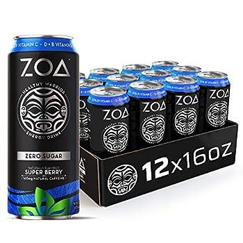 ZOA Zero Sugar Energy Drink Super Berry 16 oz  12 Pack  - Supports Immunity Focus Hydration Body & Energy - 100% DV Vitamins C B6 & B12