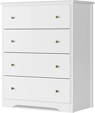 HOMECHO Dresser with 4 Drawers, Modern Chest of Drawers White, Dresser Chest with Wide Storage Space, Functional Organizer wi