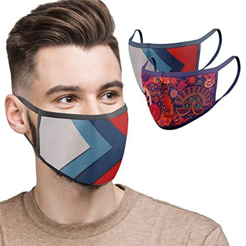 BLU HORN Face Mask Large, Reusable, Washable, Breathable, Adjustable Loop,2 Ply 100% Cotton Face Mask – with Filter Pocket (Large, Floral+Sport Design(2-Pack))