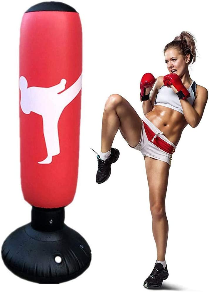 fitness Saco de boxeo con pie para ni/ños adultos MMA saco de boxeo hinchable para karate 160 cm