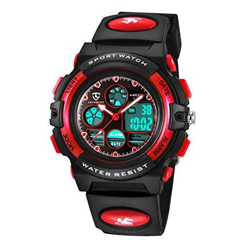 Reloj Deportivos para Niños Niño Niña Resistente al agua Digital Analógico Militares Impermeabl Deportivos Especiales al Aire Libre LED Despertador Multifuncionales (Rojo)