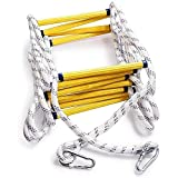 Cakunmik Flexible Ladder Rope Ladder Fire Escape Ladder Household Safety Climbing Ladder Compact Non-Slip and Wear-Resistant Easy to Use with Safety Buckle,1m