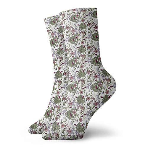 Calzini morbidi a metà polpaccio con illustrazione digitale di vari fiori esotici decorativi calzini per uomini e donne