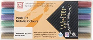 Kuretake ZIG WRITER Metallic 6 Colors, Brightening on dark paper, Dual tip, 1mm, 1.2mm, Waterproof when dry, No mess, Phot...