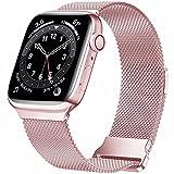 HILIMNY Correa de metal compatible con Apple Watch Correa de 38mm 40mm, correa repuesto malla acero inoxidable con lazo dos secciones para IWatch Series 6/5/4/3/2/1/SE, Rose Pink 38/40mm