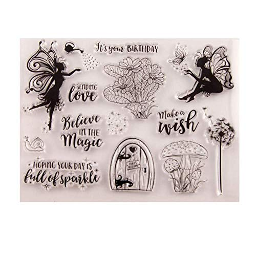 Dandelion Butterfly Elf Mushroom Flower Clear Stamps Words Love Magic Wishes Rubber Stamps for Scrapbooking Card Making DIY Birthday Christmas Clear Stamps