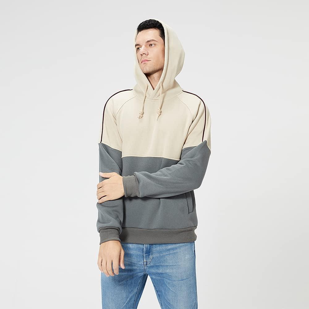 Aolesy Men's Novelty Color Block Pullove Hoodies Fleece Long Sleeve Casual Fashion Sweatshirt with Pocket