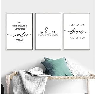 Carteles de lienzo nórdicos Cuadros inspiradores Estampado minimalista Arte de la pared Negro Blanco Motivación Amor Decoración 30x42cmx3 Sin marco