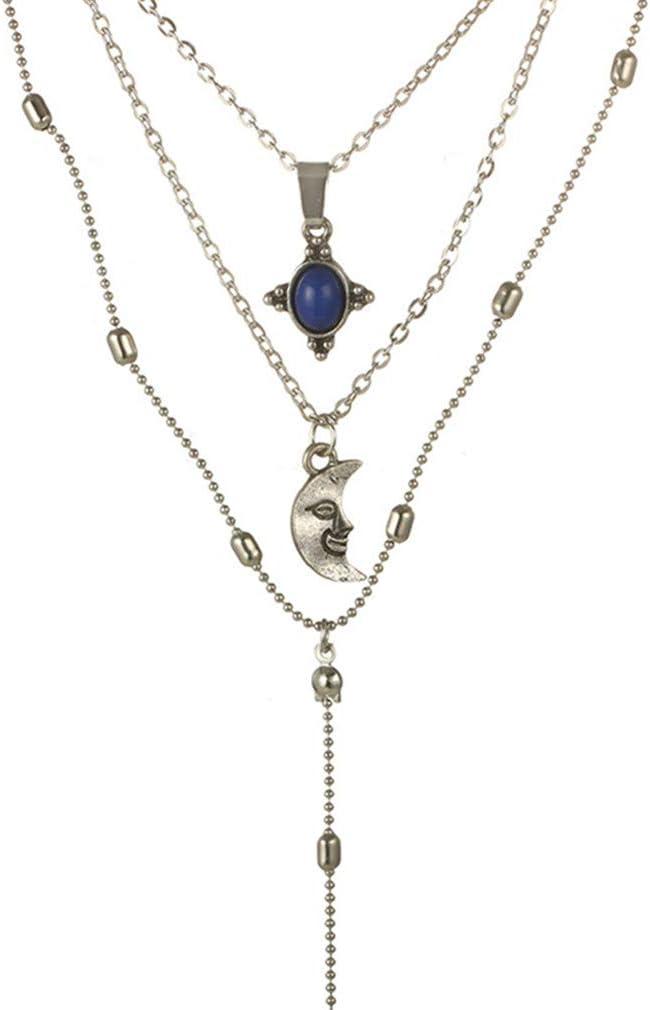 Iumer Women Vintage Bohemian Moon Imitation Turquoise Tassel Multi Layer Y Necklace
