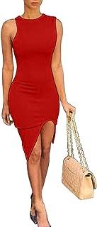 BEAGIMEG Women's Sexy Bodycon Asymmetrical Shoulder Sleeveless Round Neck Party