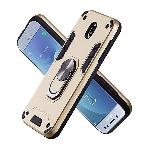 Armure Coque Samsung Galaxy J530 / J5 Pro, Boîtier PC + TPU Double Layer Housse résistant aux Chocs avec Support à Anneau Rotatif à 360 degrés (Doré)