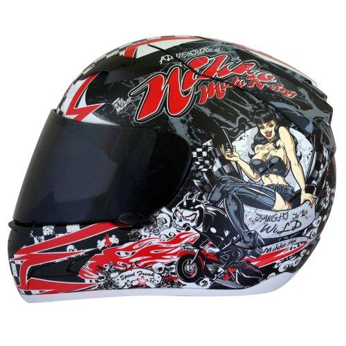 Nikko - Casco da Moto Integrale con Visiera, Rosso, XL