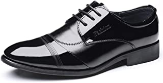 2019 Mens New Lace-up Flats Men's Formal Oxford Shoes, Lace Up Style PU Leather Simple Personality Stitching Patent Leather