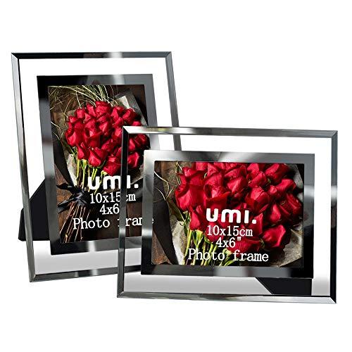 Amazon Brand - Umi 2er Glas Bilderrahmen 10x15 für Baby Fotos Familienfotos und Hochzeitsfotos
