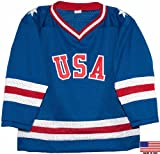 1980 USA Olympic Miracle on Ice Hockey Jersey (Child Sizes) (Blue, 6/7)