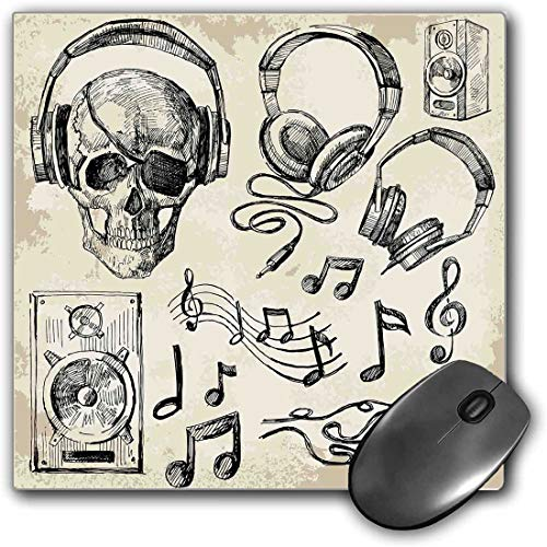 Mouse Pad Gaming Functional Music Thick Waterproof Desktop Mouse Mat Sketchy Background Hipster Skull with Headphones Record Player Mic Speakers Print,Beige Black Non-slip Rubber Base