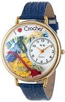 刺繍 紺レザー ゴールドフレーム 時計 #G0450011