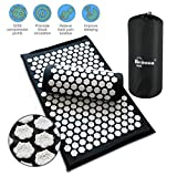 Benooa Acupressure Mat and Acupressure Pillow Massage Set,Acupuncture Mats and Acupuncture Pillow for Therapy Back Neck Pain Relief Sciatic Pain,Insomnia,Muscle Relaxation with Carrying Bag