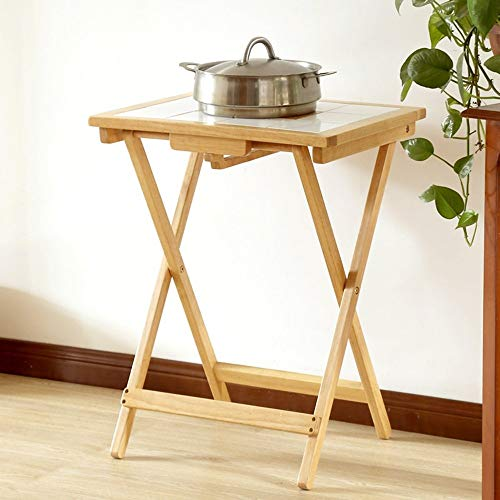 ZDW Mesa plegable Mesa cuadrada pequena de madera maciza ajustable/Azulejo Mesa de comedor resistente a altas temperaturas anti-calor/Escritorio pequeno casero / 380 * 500 * 645Mm se puede girar,