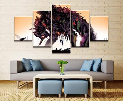 LVQIANHOME Decoración De Pared 5 Unidades Meon Genesis Evangelion Anime Poster Wall Pictures para Decoración del Hogar Poster Artwork Wall Decor Canvas-Enmarcado