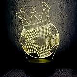 Luz De La Noche Usb Creativo Fútbol Corona Trono 3D Led Light Boy Regalo Jugador De Fútbol Luz De Bombilla Colorida
