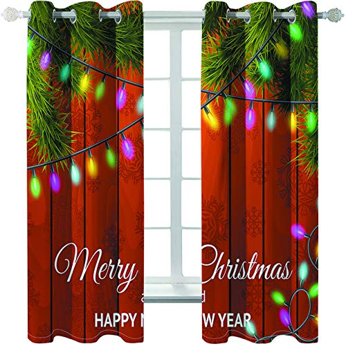 MMHJS 3D Christmas Printed Curtains Reusable Waterproof Curtains Soft Blackout Vertical Curtains For Garden Balcony (2 Pieces)