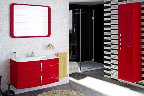 naka24 Badmöbel Set Lambo 90 cm Badezimmer MÖBEL MIT WASCHBECKEN ROT Hochglanz (Waschtisch Spiegel Hochschrank)