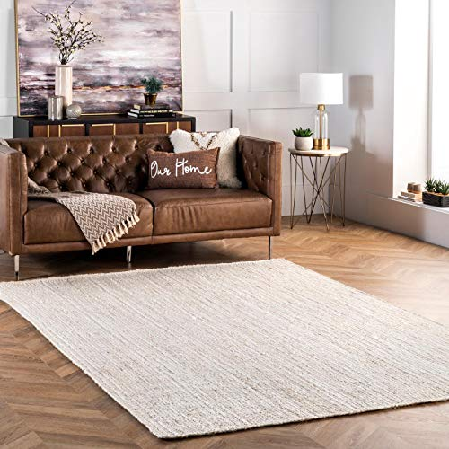 nuLOOM Rigo Hand Woven Jute Area Rug, 6' x 9', Off-white