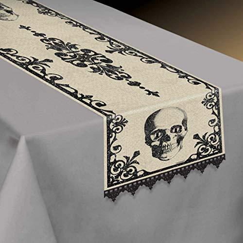 Amscan 570018-55 - Tischdecke Boneyard, aus Textil,Größe 35 x 180 cm, Skull, Totenkopf, Skelett, Halloween, Horror-Party, Mottoparty