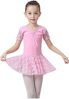 Juleyaing ガールズ バレエダンス レオタードドレス - 半袖 レース チュチュ スカート V-ネック シャーリングフロント ダンスウェア