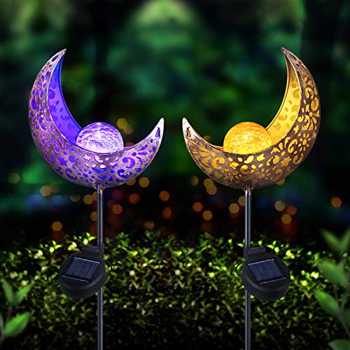 Beinhome 2 Pack Garden Solar Lights Pathway Moon Decor Crackle Glass Ball Metal Stake, 1 Warm White Light and 1 Multicolor Changing LED Globe Light for Yard, Lawn, Pathway, Patio